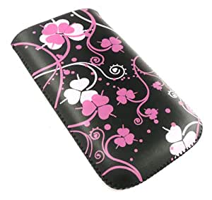 Emartbuy®Pink Clover Premium PU Leather Pouch / Case / Sleeve / Holder ( Size Large ) With Pull Tab Mechanism Suitable For Samsung Chat 357 S3570