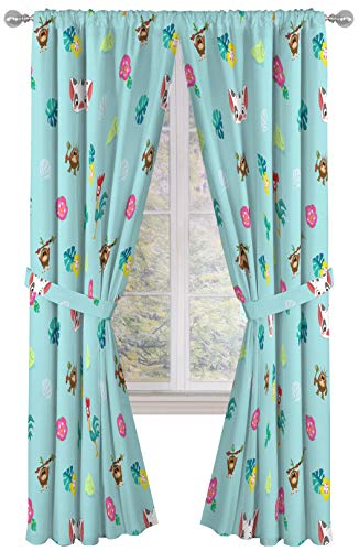 Disney Moana Flower Power 84 Inch Drapes 4 Piece Set - Beautiful Room Décor & Easy Set Up, Bedding Features Pua & HeiHei - Window Curtains Include 2 Panels & 2 Tiebacks (Official Disney Product)