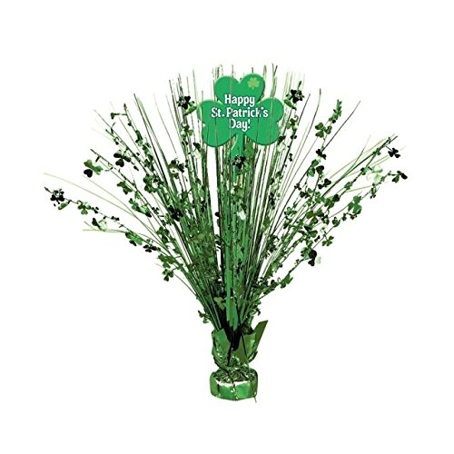 Amscan Lucky Saint Patrick's Day Shamrock Spray Centerpiece With Cutout Party Decoration, Foil, 15