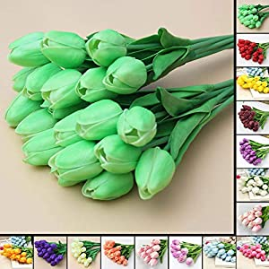 Artificial Fowers 31Pcs/Lot Pu Mini Tulip Flower Real Touch Wedding Flower Bouquet Artificial Silk Flowers for Home Party Decoration,Orange 4