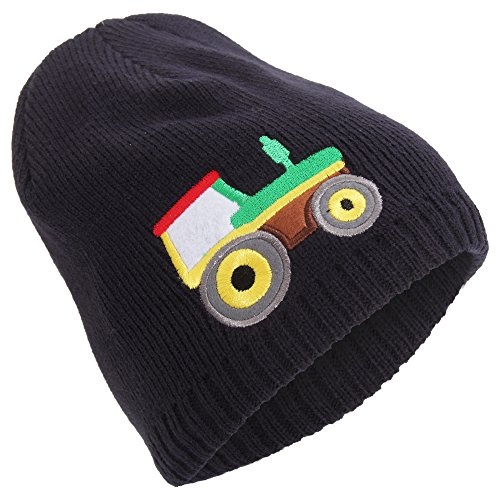 Embroidered Tractor - Universal Textiles Childrens/Boys Embroidered Fleece Lined Winter Beanie Hat (One Size) (Navy (Tractor))