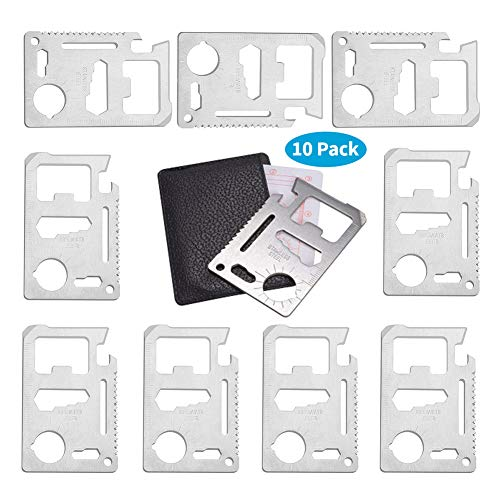 Beer Opener Survival Pocket Tool - 11 in 1 Multitools Hand Tools Stainless Steel Survival Card Tool Credit Card Size Wallet Pocket Tool Fits Perfect in Your Wallet
