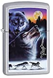 Personalized Message Engraved Customized Gift For Him For Her Wolf Wolves Zippo Lighter Indoor Outdoor Windproof Lighter (Wolf#3)