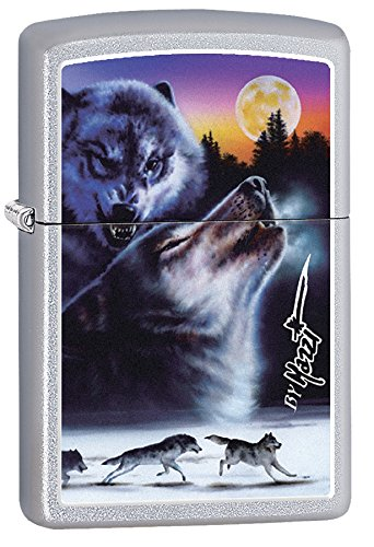 (Personalized Message Engraved Customized Wolf Wolves Zippo Lighter Indoor Outdoor Windproof Lighter (Wolf#3))