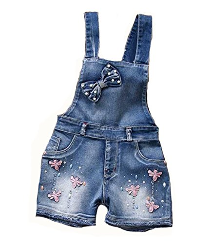 Tubaozi Girl Cute Sweet Butterfly Washed Romper Jumpsuits Straps Denim Short Denim Overalls (2T)