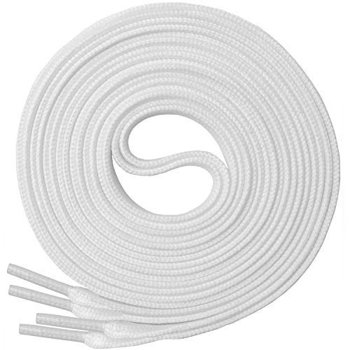 Thin Golf Shoe - Miscly Flat Shoelaces [1 Pair] For All types of Shoes & Sneakers (45″, White)