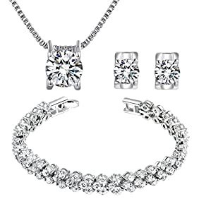 Qianse Clear AAA Zircons Necklace Earrings Bracelet Jewelry Sets Luxury Box Antiallergic