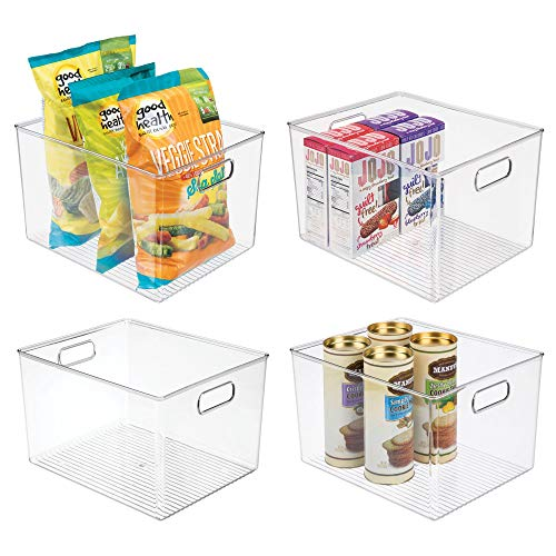 Plastic Storage Organizer Container Bins Holders with Handles - for Kitchen, Pantry, Cabinet, Fridge/Freezer - Large for Organizing Snacks, Produce, Vegetables, Pasta Food - 4 Pack - Clear
