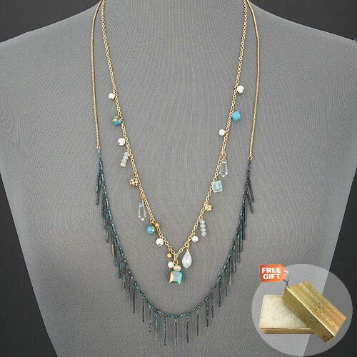 Amazon Com Layered Gold Chain Patina Tassels Faceted Stone Design