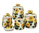 3-D Sunflower 4-piece Canisters Set, 83001