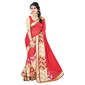 Shilp-Kala Faux Georgette Border Worked Red Colored Sarees SKWV2309A