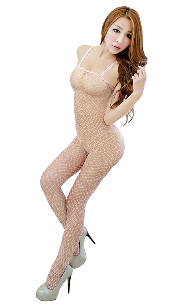 e68068a06dc Rokou Women s Sexy Hollow Out Open Crotch Fishnet Bodystocking Lingerie  Bodysuit  Amazon.ca  Clothing   Accessories