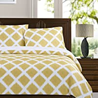 Echelon Home Diamond Ikat Duvet Cover Set, King, Marigold
