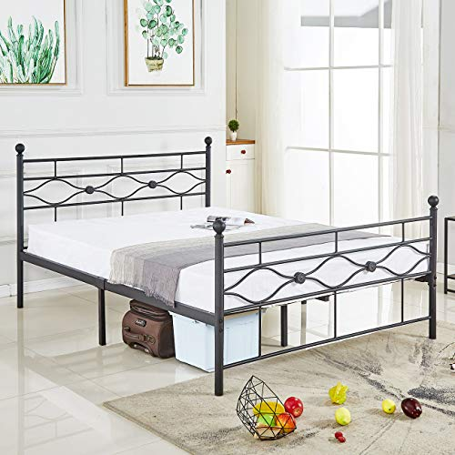 (DIKAPA Queen Size Bed Frame, Metal Platform Mattress Foundation/Box Spring Replacement with Black Top Ball Headboard,Premium Steel Slat Support,Five Year Warranty)