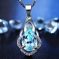 KassarinShop Women Charming 925 Silver Water Drop Blue Topaz Pendant Box Necklace Jewelry New
