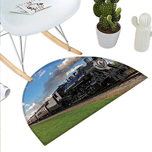Steam Engine Half Round Door mats Vintage Locomotive in Countryside Scenery Green Grass Puff Train Picture Bathroom Mat H 23.6