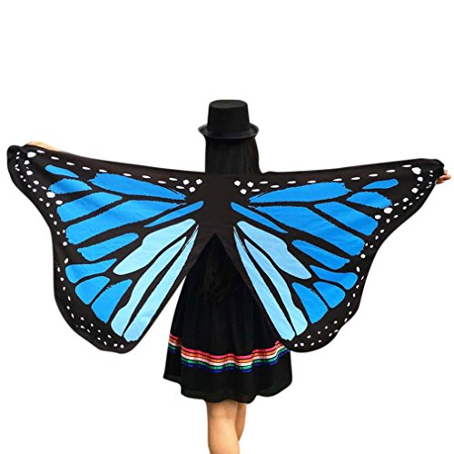 [Party Costume, Soft Fabric Butterfly Wings Shawl Wrap Fairy Ladies Nymph Pixie Costume Accessory by BSGSH] (Blue Monarch Butterfly Costume)