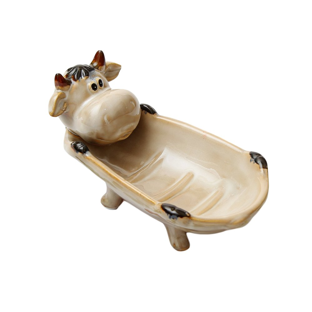 WAIT FLY Cute Antiskid Sheep Cow Cock Cat Monkey Frog Animals Shaped with Drainage Ceramics Soap Dishes Soap Boxes for Bathroom Home