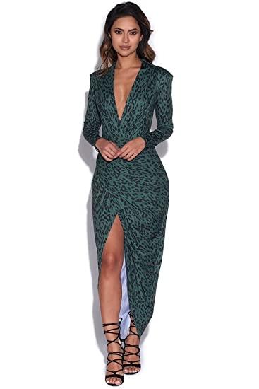 b86dbc1f57 Vestry Forest Green Leopard Print Plunge Dress  Amazon.co.uk  Clothing