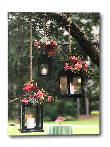 BANBERRY DESIGNS Lantern Picture - Lighted Canvas Art - LED Canvas Print with Glowing Black Lanterns in an Outdoor Scene