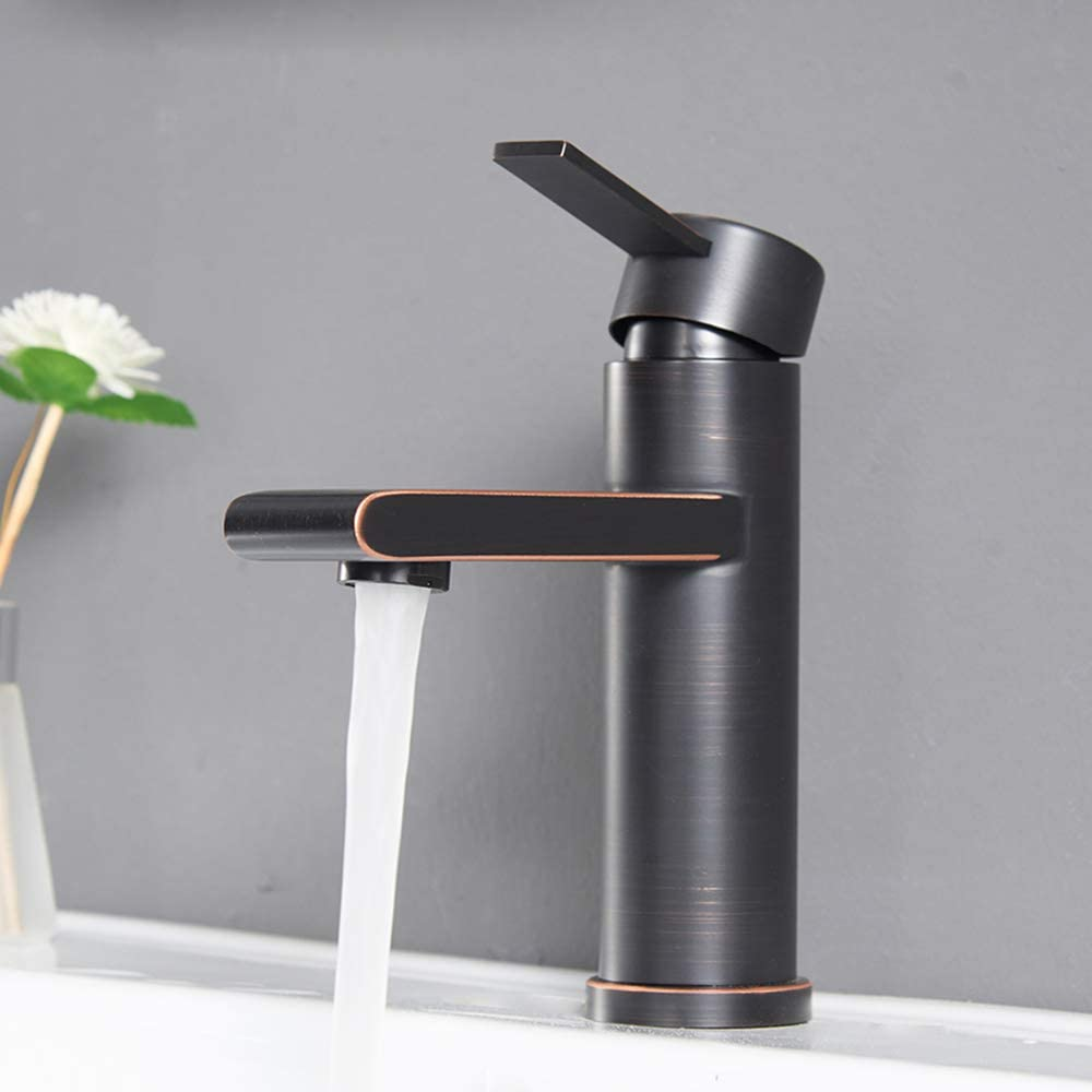"""VCCUCINE Modern Commercial Oil Rubber Bronze Single Handle Bathroom Faucet, Laundry Vanity Sink Faucet With Two 3/8"""" Hoses"""