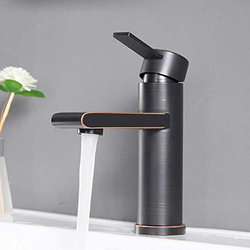 VCCUCINE Modern Commercial Oil Rubber Bronze Single Handle Bathroom Faucet, Laundry Vanity Sink Faucet With Two 3 8 Hoses