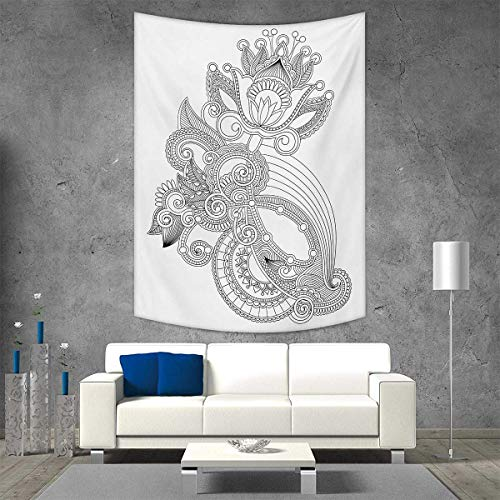 smallbeefly Henna Beach Throw Blanket Hand Drawn Line Art Blossoming Organic Nature Flower Ornate Motif Antique Ancient Vertical Version Tapestry 70W x 93L INCH Black White (Antique Blanket Wool)