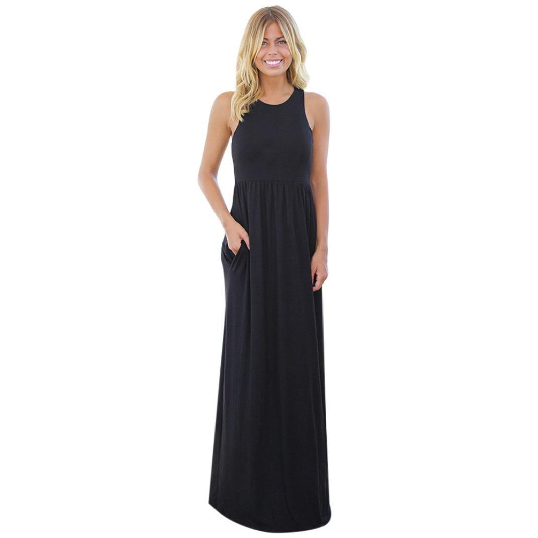 Caopixx Womens Dress, Sleeveless With Pocket Boho Dress Lady Beach Summer Sundrss Maxi Dress (Asia Size XL, Black) by Caopixx