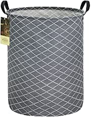 HUNRUNG Large Canvas Fabric Lightweight Storage Basket/Toy Organizer/Dirty Clothes Collapsible Waterproof for College Dorms, Bedroom,Bathroom,Laundry Hamper