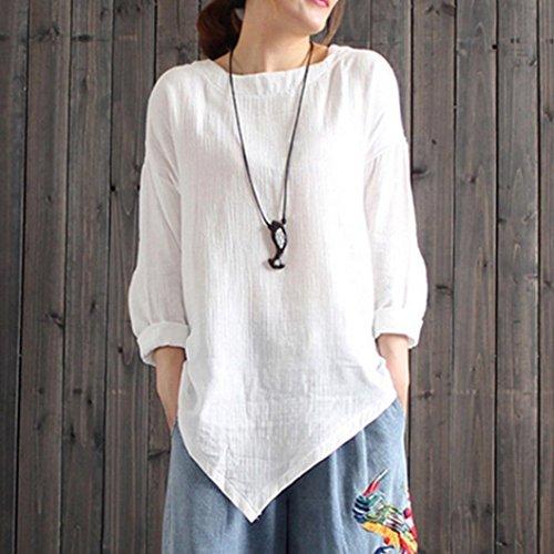 Bringbring Coton Manches Casual Tops Blouse Vintage Lin Longues Chemise Lache Blanc Femmes CvSwZtqx