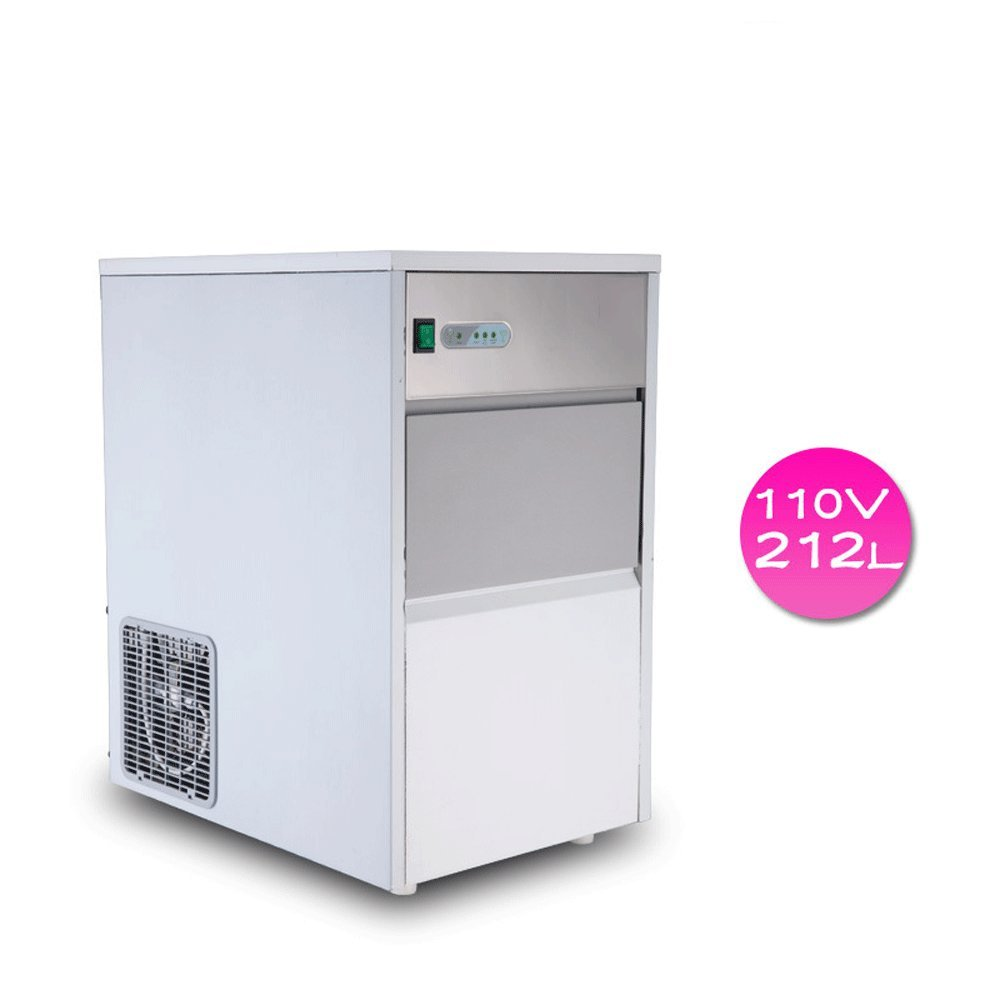 Finlon Stainless Steel Commercial Ice Maker Portable Ice Cube Freestanding Machine Restaurant (110V,55 lb/25kg)