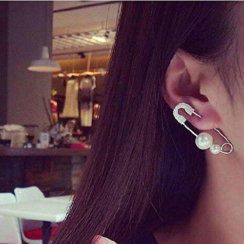1PC Cool Pin Punk Jewelry Safety Earring Brooch Pearls Ear Stud - Faux Baroque Pearl Earrings