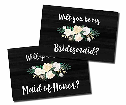 10 Will You Be My Bridesmaid, Maid of Honor Cards and Envelopes, Watercolor Floral Rustic Chalkboard, Cute Bridesmaids Proposal Note Cards For Gifts, Blank Ask To Be Your Bridesmaids Invitations Set