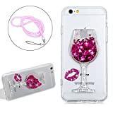 Silicone Liquid Case Cover For Iphone 6 6S Luxury Shiny Glitter, Girlyard Rhinestone Wineglass Fashion Design Case Ultra Clear Stars Floating Protective Case Cover Rubber Crystal Bling Sexy Lips Case Cover with Rose Red Lanyard Strap