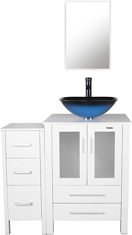 Amazon Com Eclife 36 Bathroom Vanity Sink Combo White W Side Cabinet Vanity Ocean Blue Square Tempered Glass Vessel Sink 1 5 Gpm Water Save Faucet Solid Brass Pop Up Drain With Mirror A04b02wb11w