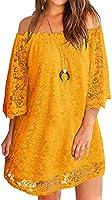 Twinklady Women's Off Shoulder Casual Lace Shift Loose Mini Dress