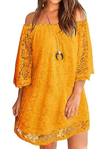 (Twinklady Women's Off Shoulder Flowy Vintage Lace Shift Loose Mini Dress Yellow XL)