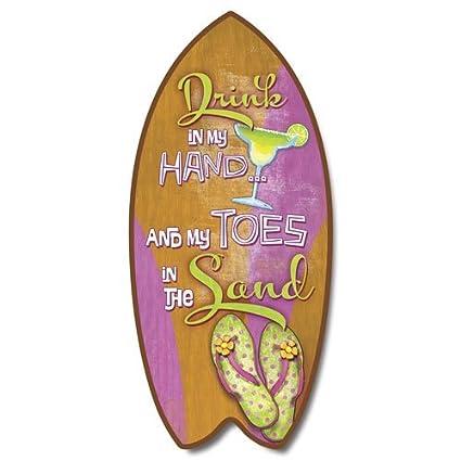 Highland Graphics - Mini tabla de surf con diseño de dedos tropicales en arena
