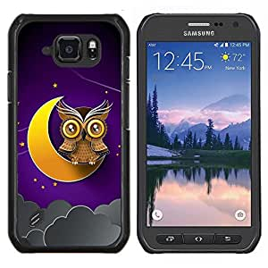 LECELL--Funda protectora / Cubierta / Piel For Samsung Galaxy S6Active Active G890A -- Luna creciente Búho de Brown amarillo del cielo nocturno --