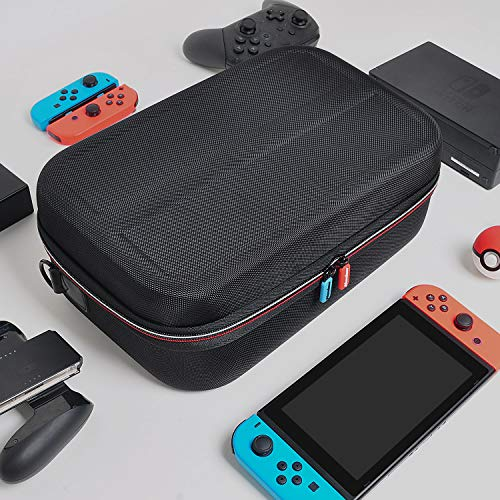 Hestia Goods Carrying Case for Nintendo Switch - Portable Travel All Protective Hard Messenger Bag Soft Lining 18 Games for Switch Console Pro Controller & Accessories,Black