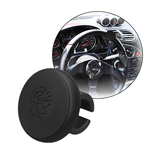 - VaygWay Steering Wheel Spinner Knob- Silicone Car Suicide Handle- Power Knob - Universal Tractor Vehicle Boat Black- Wheel Accessories Arthritis Handicap Spinners