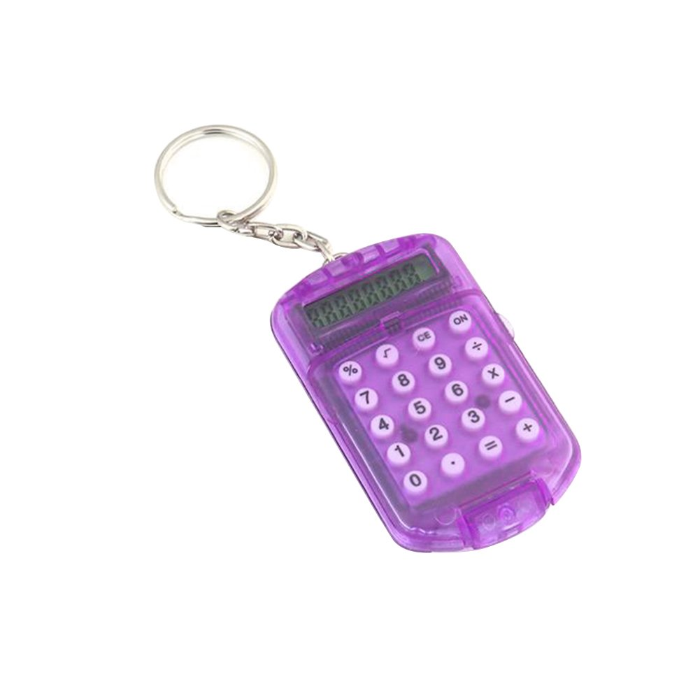 Colorido Random Color Battery Powered Mini Electronic Calculator,8 Digits Study Calculator with Keyring,School Office Supplier Random Color