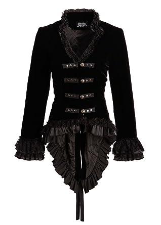 san francisco ddda4 75780 Pretty Attitude Schwarze viktorianische Damen Gothik Samt Jacke mit Spitze  und Schnürung