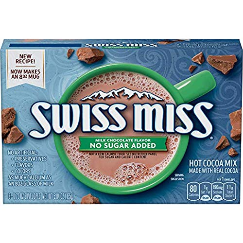 - Swiss Miss Sensible Sweets No Sugar Added Hot Cocoa Mix, 8 Count 4.4 oz