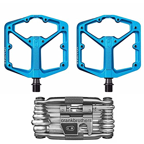 CRANKBROTHERs Crank Brothers Stamp 3 Large Lightweight Bike Pedals Pair (Blue) and M19 Bicycle Maintenance Multi-Tool Kit