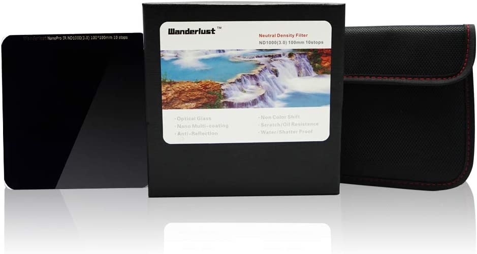 100mm ND 1000 3.0 Filter with Padded Pouch and Case Wanderlust Neutral Density for Camera Pro
