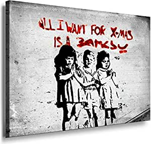 Banksy Graffiti Street Art -1206, Size 100x70x2 Cm. Printed On Canvas Stretched On A Wooden Frame.
