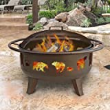 Landmann Patio Lights Firedance Bear & Paw Wood Burning Fire Pit - Bronze