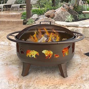 Landmann Patio Lights Firedance Bear & Paw Wood Burning Fire Pit - Bronze