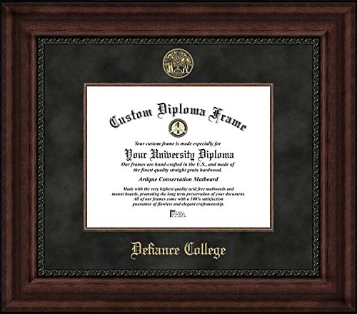 (Laminated Visuals Defiance College Yellow Jackets - Embossed Seal - Suede Mat - Mahogany - Diploma Frame)
